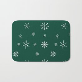 Christmas season forest green white snowflakes pattern Bath Mat