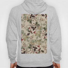 Vintage ivory red green forest berries floral Hoody
