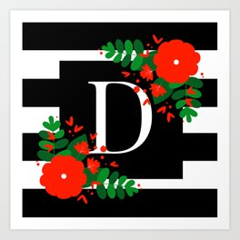 D - Monogram Black and White with Red Flowers Art Print
