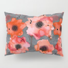 Watercolor poppies on gray background Pillow Sham