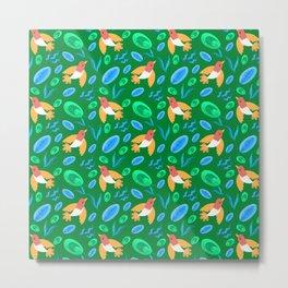 Pretty beautiful cute little birds and green blue delicate leaves green pattern. Gift ideas. Nursery Metal Print