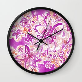 GOOD VIBES Wild Pink Watercolor Floral Wall Clock