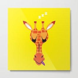 Sleepy Giraffe Metal Print