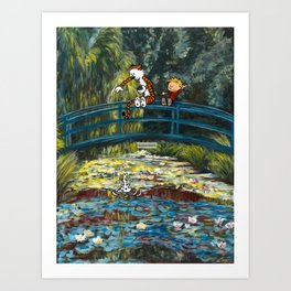 Calvin and Hobbes/Monet Mashup Fanart Art Print