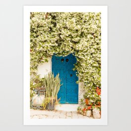 Blue door with beautiful blossom in Sidi Bou Saïd | Door photos | Tunisia Travel Photography |  Art Print