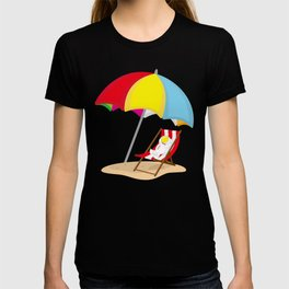 Space Odyssey | Astronaut Lounging at the Beach | Sea Side | Space | Umbrella | pulps of wood T-shirt