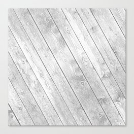Rustic country white gray abstract wood  Canvas Print