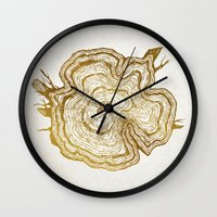 tree rings Wall Clocks featuring Tree Rings by Emmy Winstead