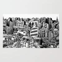 cityscape Area & Throw Rugs featuring Cityscape by Nip Rogers