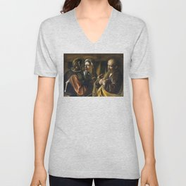 The Denial of Saint Peter by Caravaggio (1610) Unisex V-Neck