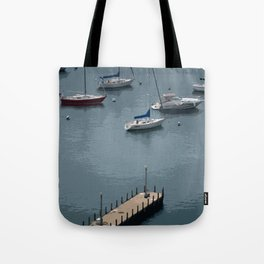 Boats and Pier on Lake Michigan Tote Bag