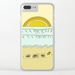 single fin simple life // longboard retro surf art by surfy birdy Clear iPhone Case