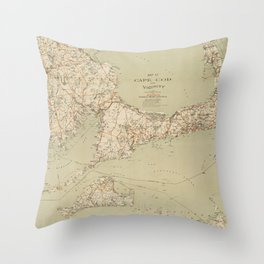 Beautiful 1909 Vintage Map of Cape Cod Throw Pillow