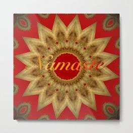 Namaste Gold Red Mandala Design Metal Print