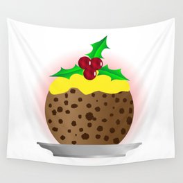 Christmas Pudding With Custard And Holly Sprig Wall Tapestry