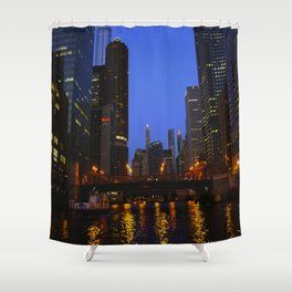Lights Strike Gold on Chicago River (Chicago Architecture Collection) Shower Curtain