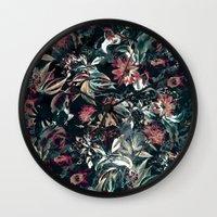 garden Wall Clocks featuring Space Garden by RIZA PEKER