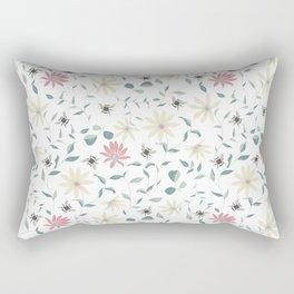 Floral Bee Print Rectangular Pillow