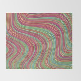 OLEANDER trails of fuschia red grass green abstract Throw Blanket