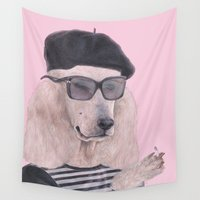 poodle Wall Tapestries featuring French Poodle by Rachel Waterman