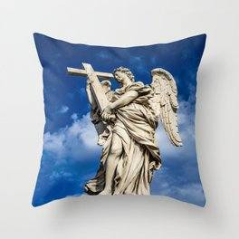 Angel with the cross on the Ponte Sant'Angelo over the Tiber Throw Pillow