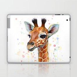 Giraffe Baby Watercolor Laptop & iPad Skin