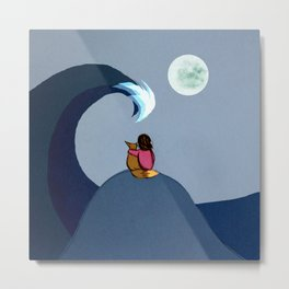 The Moon and Sea Metal Print