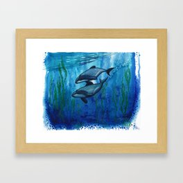 """Maui's Magic"" by Amber Marine ~ (Maui's Dolphins) Watercolor Painting, (Copyright 2016) Framed Art Print"