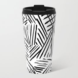 Black White Abstract Linear drawn Lines Pattern Travel Mug