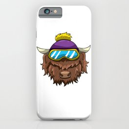 Highland Cow With Ski Glasses Skiing Snowboard iPhone Case