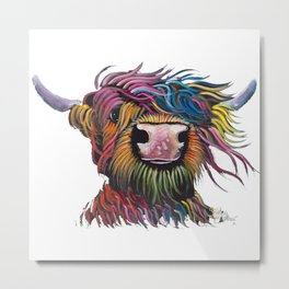 Scottish Highland Cow ' ROCK A BILLY ' by Shirley MacArthur Metal Print
