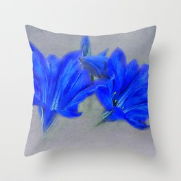 Painted Blue Gentians Floral Throw Pillow