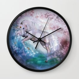 Einhorn mit Blumen und Sternen Wall Clock