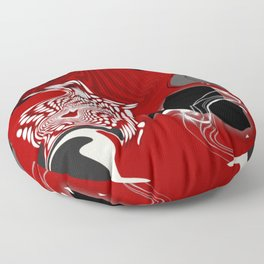 falling apart red black white grey abstract 3d digital art Floor Pillow