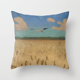'Fields of Gold' landscape painting by Agnes Slott-Møller Throw Pillow