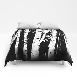 Black and White Birch Trees Fade Out Comforters