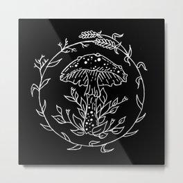 Floral Lavender Wreath Mushroom Design Metal Print