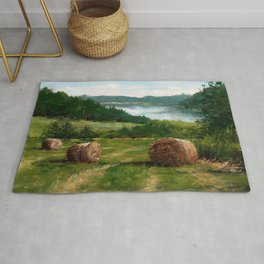 Hay Bale View of Shelburne Pond Rug