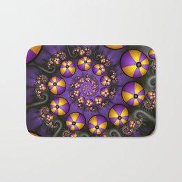 Playful Fractals Fun,  Modern Purple Yellow Spirals Bath Mat
