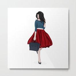 Romantic look, girl in red skirt Metal Print
