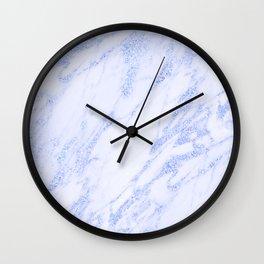 Blue Marble - Shimmery Glittery Cornflower Sky Blue Marble Metallic Wall Clock