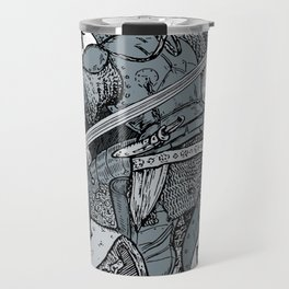 Saturday Knight Special STEEL BLUE / Vintage illustration redrawn and repurposed Travel Mug