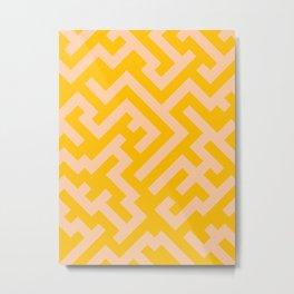 Deep Peach Orange and Amber Orange Diagonal Labyrinth Metal Print