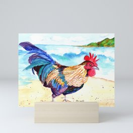 Rooster at the Beach Mini Art Print