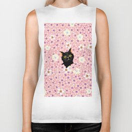 Black Cat Cherry Blossoms  Biker Tank