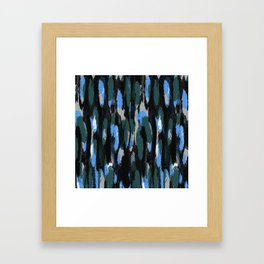 Blue painted pattern - Greens, Blues and Black Framed Art Print