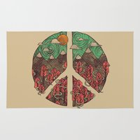 landscape Area & Throw Rugs featuring Peaceful Landscape by Hector Mansilla
