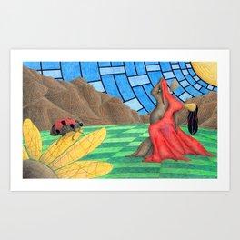 Mountain and The Ladybug Art Print