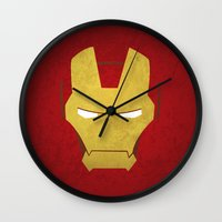 ironman Wall Clocks featuring Ironman by Liquidsugar