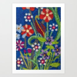 Starry Floral Felted Wool, Blue Art Print